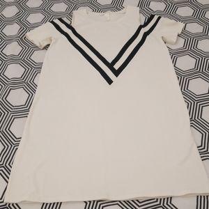H&M  Off-White and Black Cold Shoulder Dress
